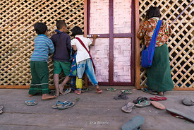 A scene outside a classroom at Htet Eain Cave Monastic Education Schools near Nyaungshwe in Myanmar.
