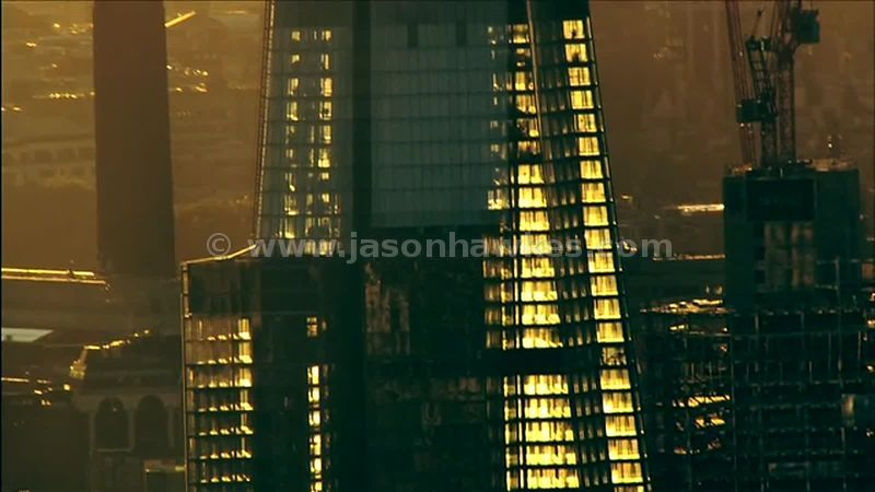 Aerial footage of The Shard, Southwark, London, England