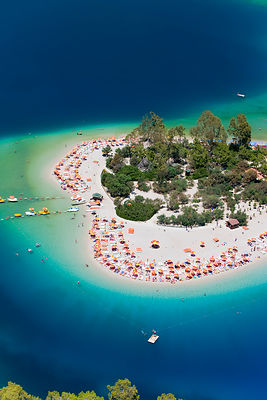 Aerial view of the famous Blue Lagoon and Belcekiz beach along the 'Turquoise' coast, Oludeniz near Fethiye, Mediterrean Coas...