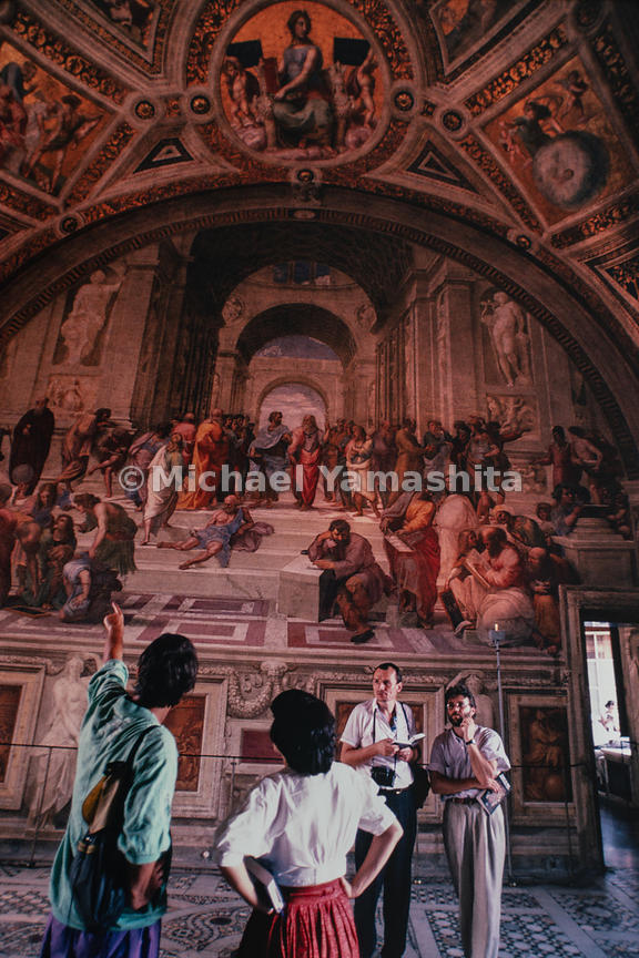 The School of Athens by Raffaello Sanzio da Urbino is featured in the Vatican Museums. Rome, Italy, 1988.