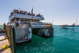 Ferry and Float Plane Arriving at Fort Jefferson Dock in Dry Tortugas National Park