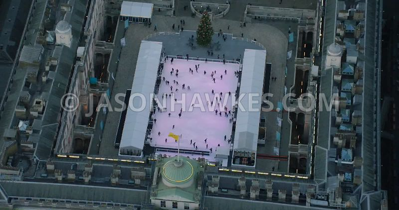Aerial footage of the ice rink at Somerset House