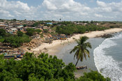 View of the fishing beach from Fort Leydsaamsheid, Apam, Ghana