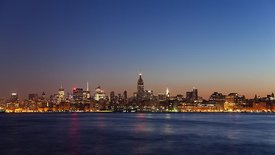 Wide Shot: Manhattan Sunrise On The Hudson (Night to Day)