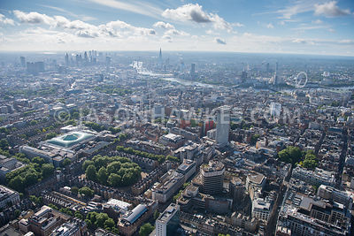 Aerial view of London Bedford Square Gardens and Centre Point