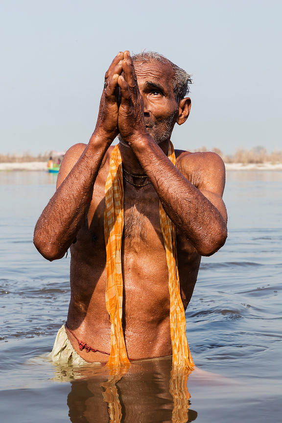 Pilgrim from Calcutta Bathing in the Yamuna River