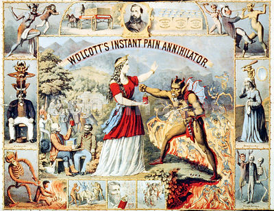 Patent medicine ad for Wolcotts Instant Pain Annihilator