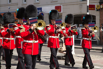 Trumpet and Trombone Players in th Band of the Irish Guards