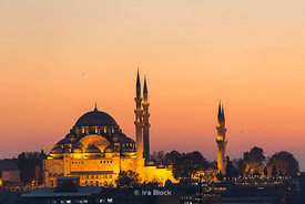 Süleymaniye Mosque lit up at night in Istanbul, Turkey.