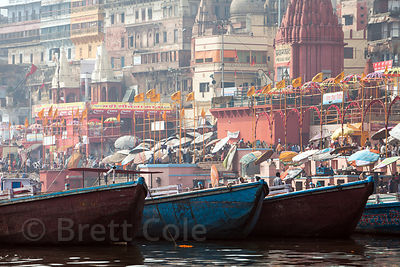 Boats on the Ganges River near Prayag and Rajendraprasad Ghats, Varanasi, India.