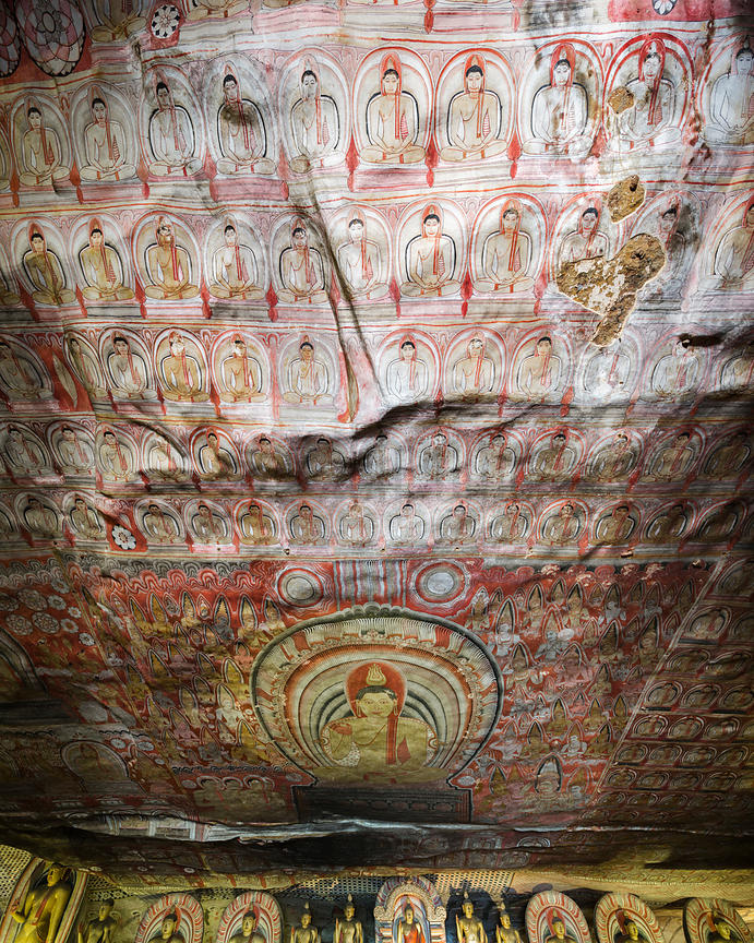 Painted Ceiling of the Royal Rock Temple at Dambulla