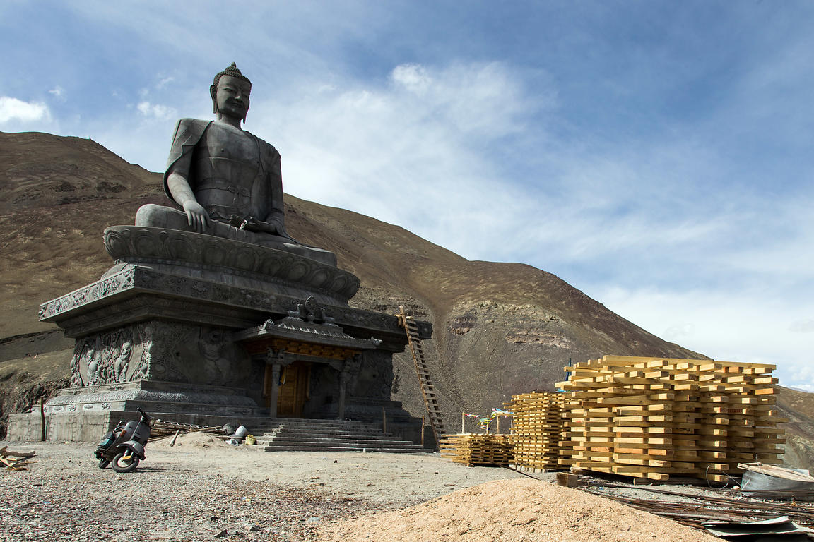 Buddha statue under construction in Stok village near Leh, Ladakh, India