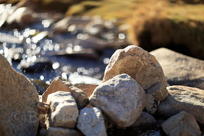 Stones in a high altitude creek at 14,300 feet along the road to Khardung La, Ladakh, India