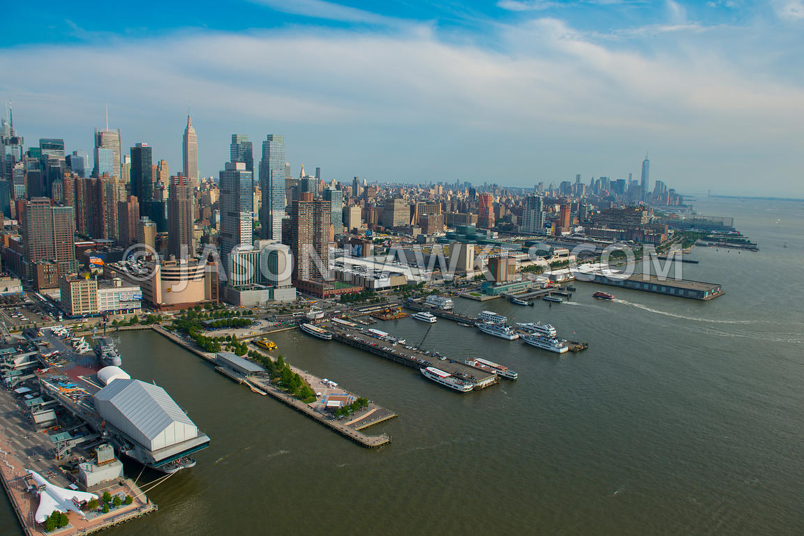 Aerial view looking east across Manhattan showing Hell's Kitchen and Chelsea