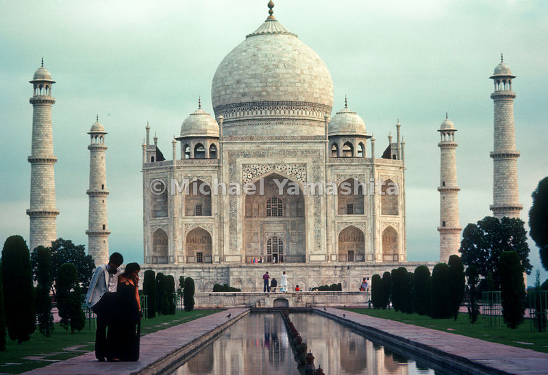 The Taj Mahal holds the tomb of Mumtaz Mahal in Agra, India.