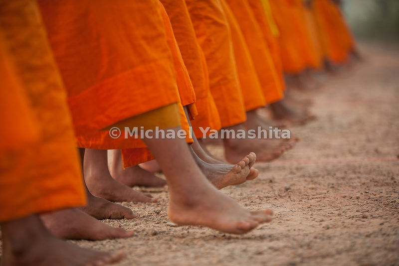 Winter camp for monks, 5km outside of the city. Pics of monks praying, walking meditation, breaking fast with rice porridge, ...