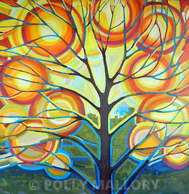"Sunlit Tree no. 17, 36 x 36"" original acrylic on canvas."