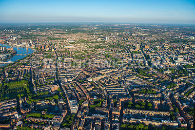 Aerial view of London, Chelsea with Brompton and South Kensington.