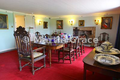The Dining Room, Skaill House (1620), showing the dinner service used by the explorer Captain James Cook on his third and las...