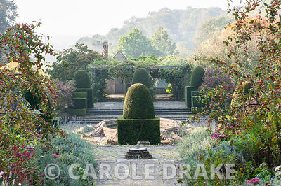 Central path through the Fountain Court framed with crab apples, lavender and sedums. Mapperton House, Beaminster, Dorset, UK