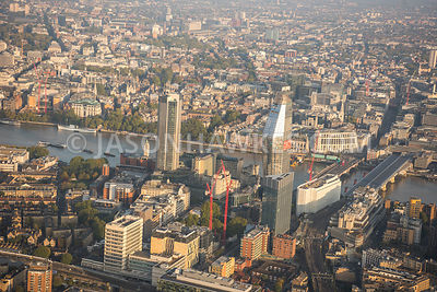Aerial view of London, Blackfriars Bridges and River Thames with Blackfriars Road.