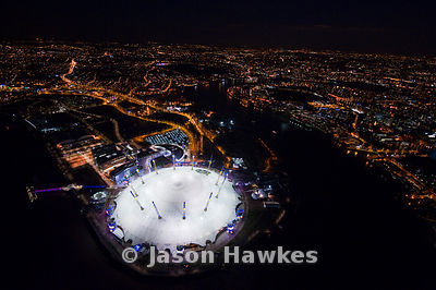 Aerial view of the O2 Arena at night, London