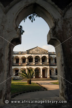 Mozambique, Beira, Old Arts college on the grounds of the Beira Cathedral.