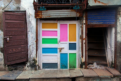 Colorful painted door in the Dharavi slum, Mumbai, India.