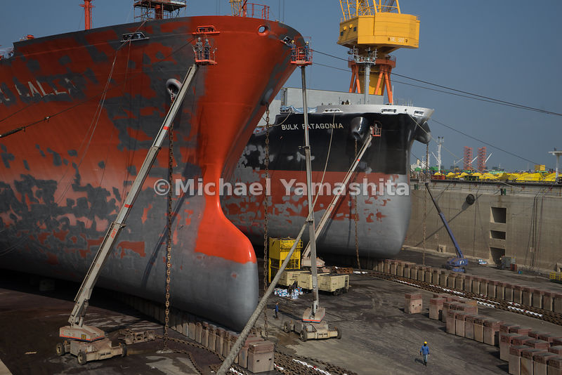 Dry-docking repairs are in progress at Semcorp Marine Tuas Boulevard Yard.