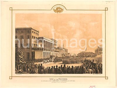 View of the procession in celebration of the admission of California, Oct. 19th, 1850. Crossing the Plaza of San Francisco