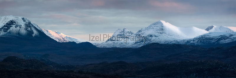 Stitched Panorama of the Torridon Mountains in the Scottish Highlands