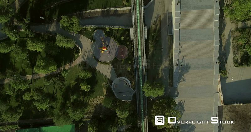 Aerial Camera flies along the Potemkin Steps whilst pointing directly down. Original in 4K and shot in early morning light in...