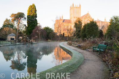 The Well Pool in the Bishop's Palace garden with Wells Cathedral as backdrop