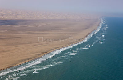 Aerial view of sand dunes bordering the atlantic coast, near Swakopmund, Namib desert, Namibia, August 2008