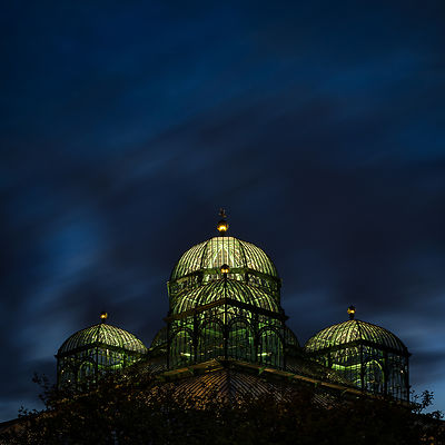Congo Greenhouse at night, Royal Greenhouses of Laeken, Brussels