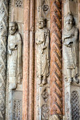 Italy - Verona - Detail of carvings of the Ten Prophets on the main porch of the Duomo