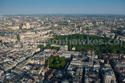 Aerial view of St James' Park, London