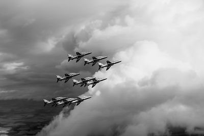 Cloud riding Red Arrows black and white version