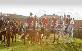 David Bellamy, Michael Dungworth, David Manning, Harriet Rimmer Leaving the Meet. The Belvoir Hunt at Sheepwash 29/12