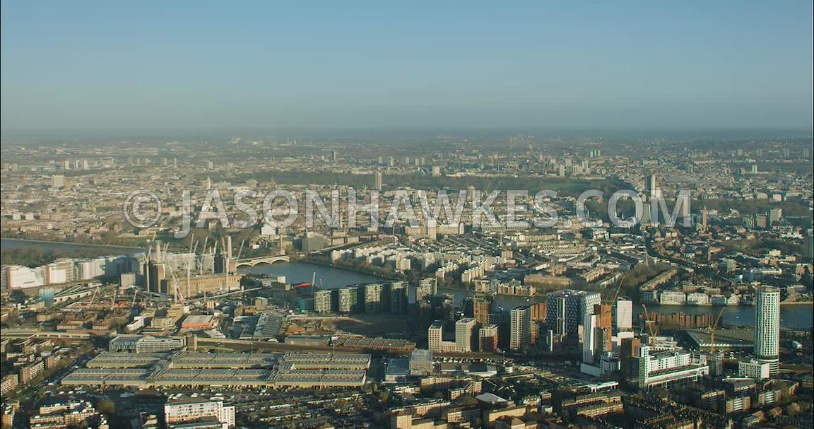 London Aerial Footage of Nine Elms, New Covent Garden Flower Market.