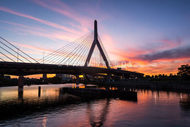 Boston Zakim Bunker Hill Bridge at Sunset Photo
