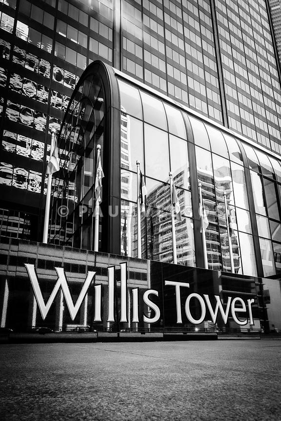Chicago Willis Tower Sign in Black and White