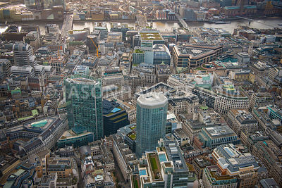 Aerial view of City of London, Old Broad Street with Gracechurch Street towards London Bridge.