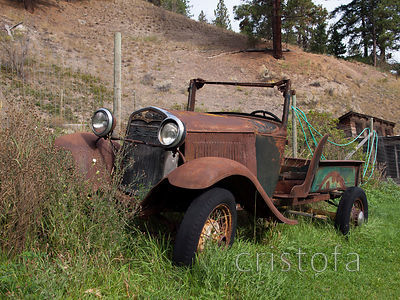 old Ford pickup on the Green Mountain Road near Penticton