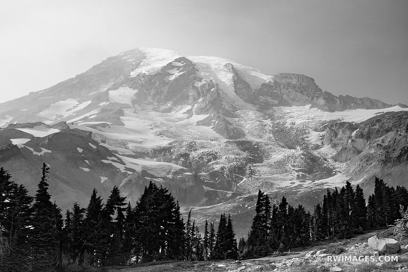 PARADISE AREA MOUNT RAINIER NATIONAL PARK WASHINGTON BLACK AND WHITE