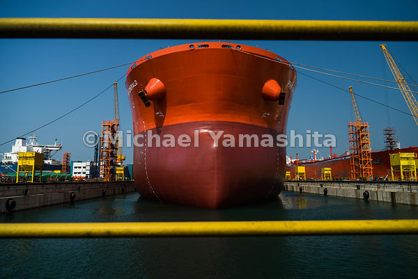 Proudly gleaming in a bright shade of red, the newly repainted ship is ready to roam the seas once more.