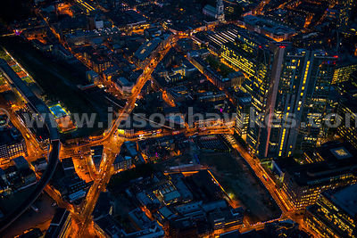 Aerial view of Shoreditch High Street at night, London