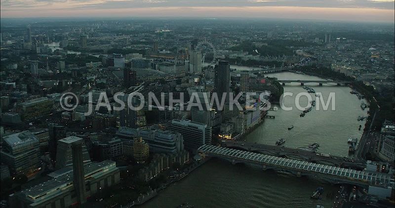 London Aerial Footage of Blackfriars and River Thames
