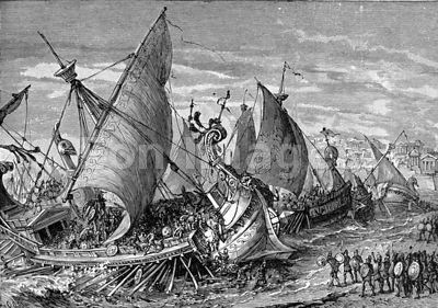 Naval battle at Syracuse during Peloponnesian Wars