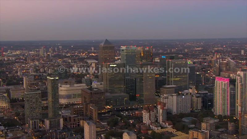 Aerial view of Canary Wharf at dusk, London
